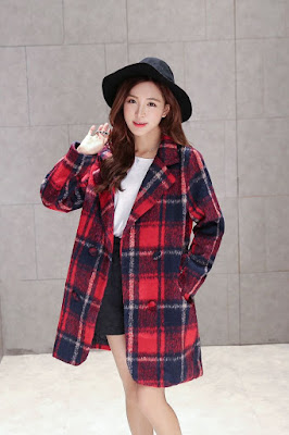 YOLO Woolen Plaid Coat at Yesstyle.com