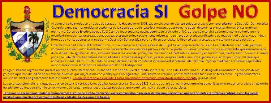 ¡Democracia Si; golpe NO!