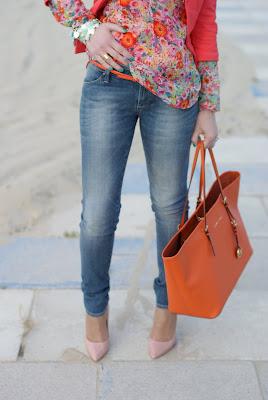 floral blouse, Michael Kors tote