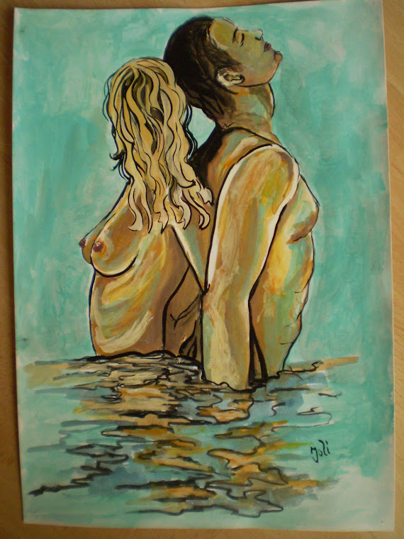 NUDE , together forever, watercolor, signed Joli, A4