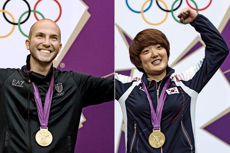 """Kim Jangmi, da Coréia do Sul, e Niccolo """"Nicco"""" Campriani, da Itália: Atiradores do Ano 2012 da Federação Internacional de Tiro Esportivo"""