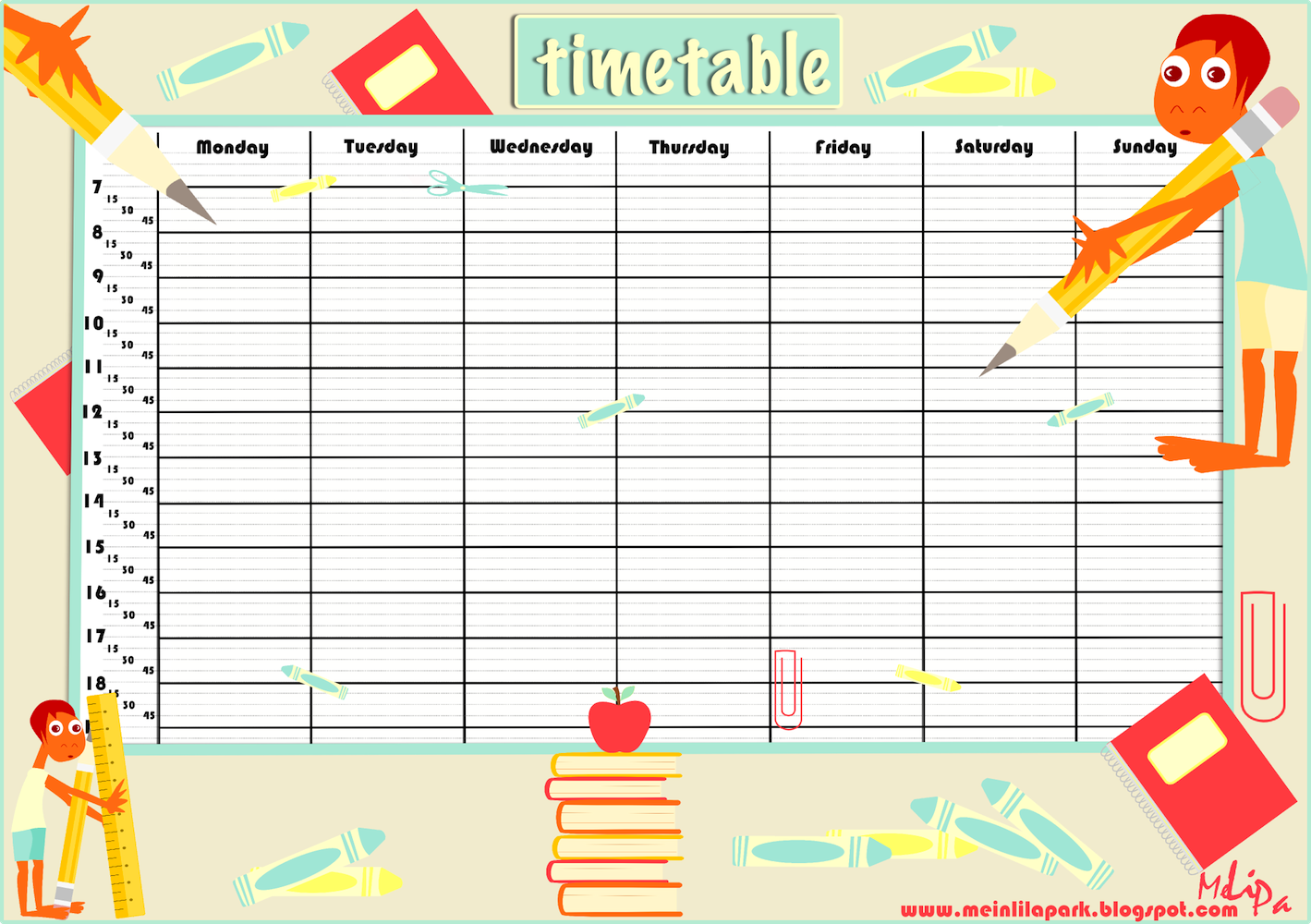 Free printable school timetable and school scrabpooking for Time design planner