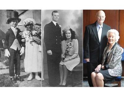 Gambar kahwin semasa 4 tahun, ketika dewasa dan ulangtahun perkahwinan ketika berusia 70 tahun.