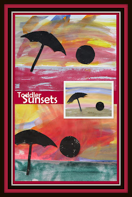 Toddler painting, beach, horizon, sunset, beach umbrella, early childhood