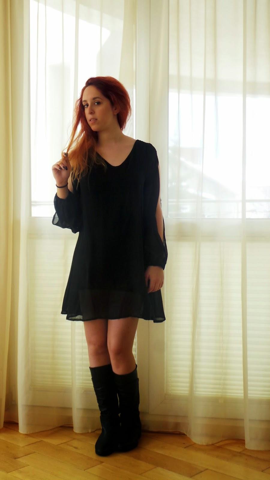 OASAP, Anna, Keni, dress, model, redhead, backless, mini, short, black, fashion, review, online , shop