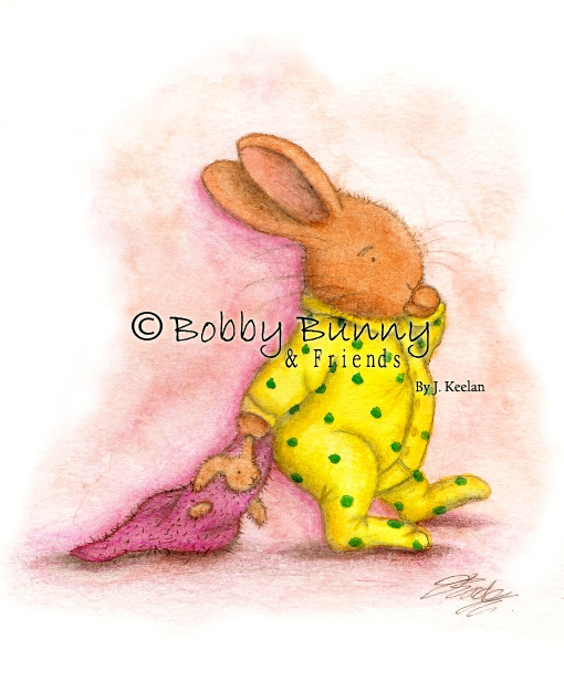 Bobby Bunny Character Illustration, Original Colour - Copyright Bobby Bunny & Friends By Jennifer Keelan Illustration 2007