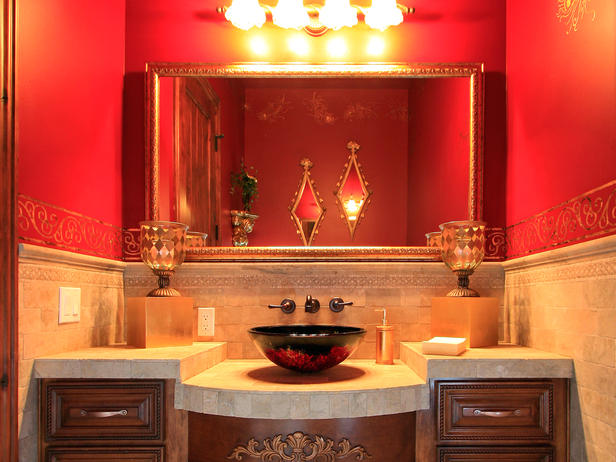 This Red Vessel Sink Sits A Top Tumbled Travertine Counter The Warm Walls Complement And Add An Element Of Surprise In Powder Room
