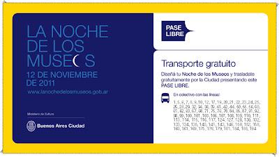 La Noche de Los Museos, noviembre 2011 - Pase Libre