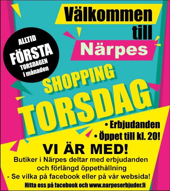 Shopping Torsdag i Närpes - Första torsdagen varje månad!