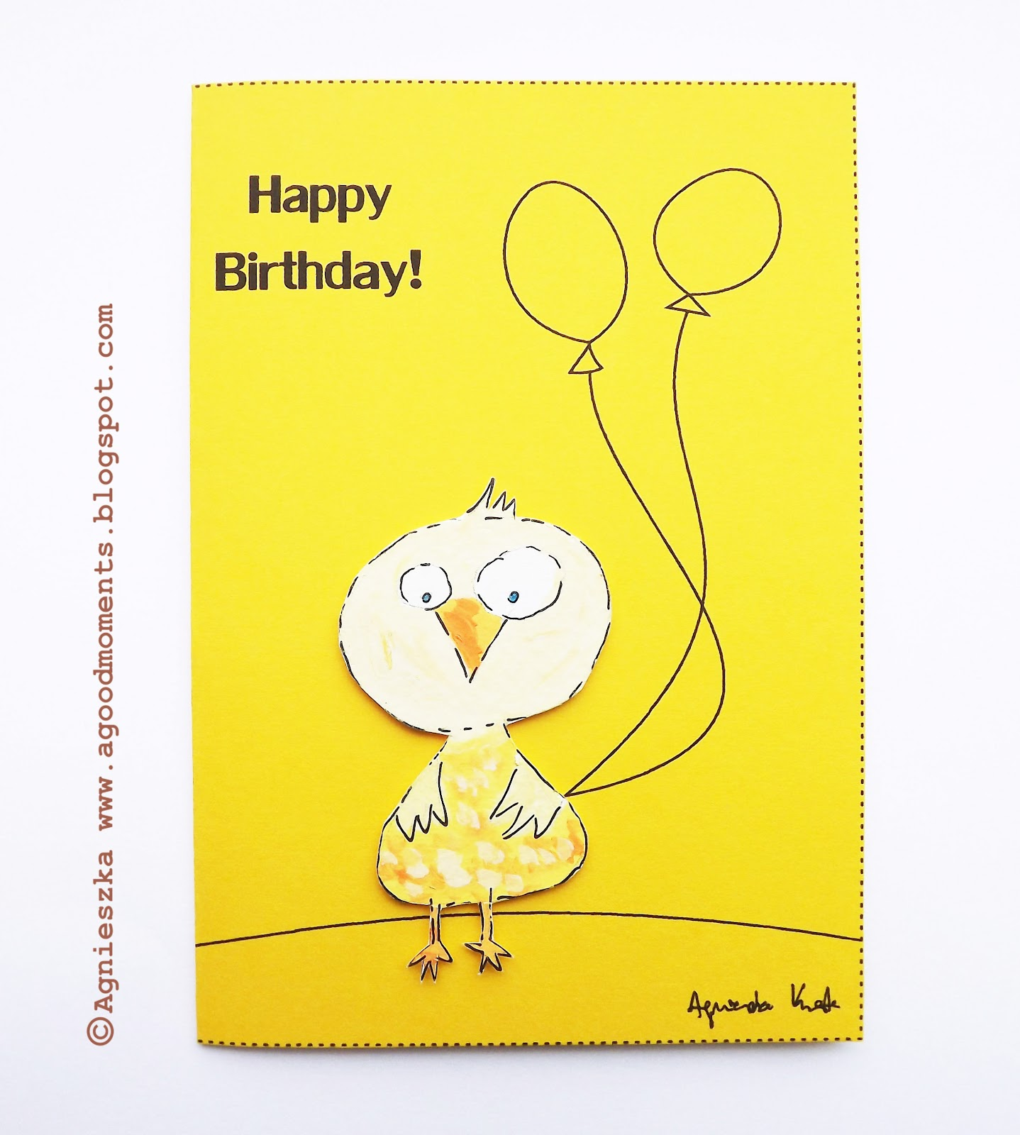 Good Moments Cartoon Chicken Birthday Card Kartka Urodzinowa Z
