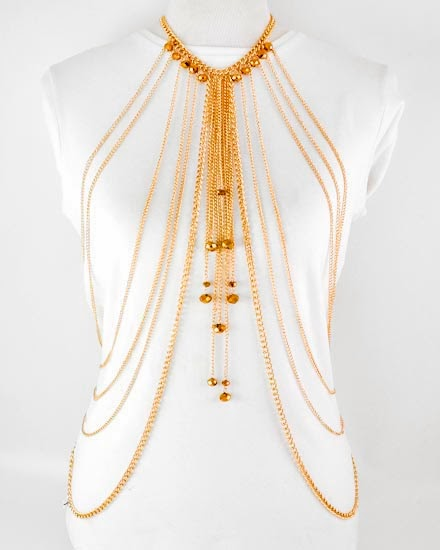 gold necklace body chain