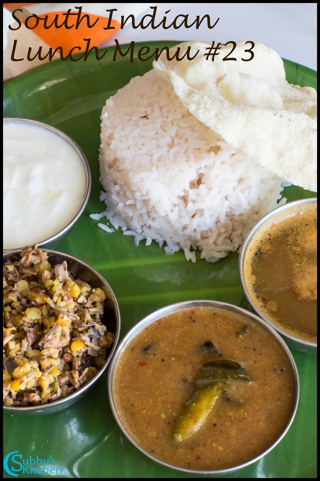 South Indian Lunch Menu 23 - Anjarapetti Kuzhambu, Vazhaipoo Paruppu Usili,Garlic Rasam, Rice, Papad, Pickle