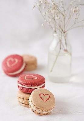 Valentines Red and White Macarons