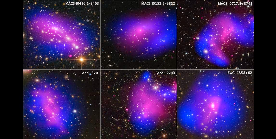 This collage shows images of six different galaxy clusters taken with NASA's Hubble Space Telescope and Chandra X-ray Observatory. The clusters were observed in a study of how dark matter in clusters of galaxies behaves when the clusters collide. Seventy-two large cluster collisions were studied in total.  Using visible-light images from Hubble, the team was able to map the post-collision distribution of stars and also of the dark matter (colored in blue), which was traced through its gravitational lensing effects on background light. Chandra was used to see the X-ray emission from impacted gas (pink).  The team determined that dark matter interacts with itself and everything else even less than previously thought.  The clusters shown here are, from left to right and top to bottom: MACS J0416.1-2403, MACS J0152.5-2852, MACS J0717.5+3745, Abell 370, Abell 2744, and ZwCl 1358+62. Credit: NASA, ESA, STScI, and CXC