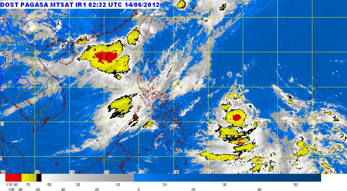 MTSAT ENHANCED Satellite Image for 11:32 a.m., 14 June 2012