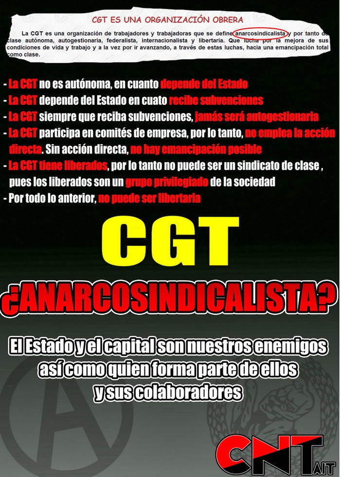 Que no te engañen, CGT NO es anarcosindicalista