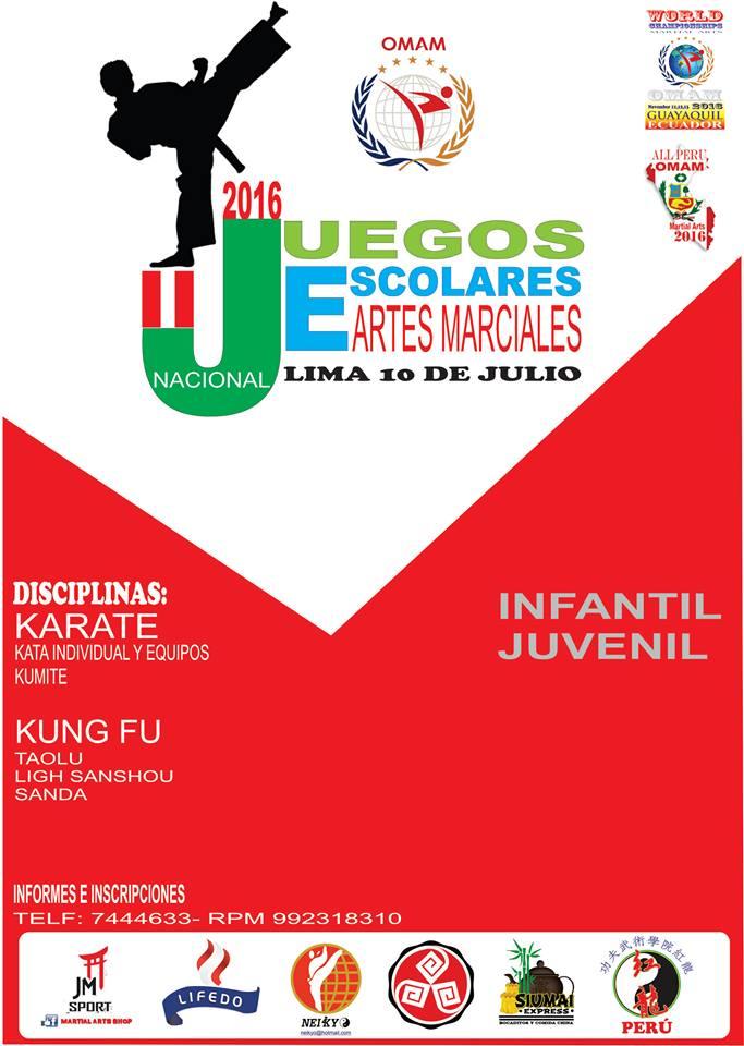 JUEGOS ESCOLARES NACIONAL  DE ARTES MARCIALES 2016 Lima-Perù
