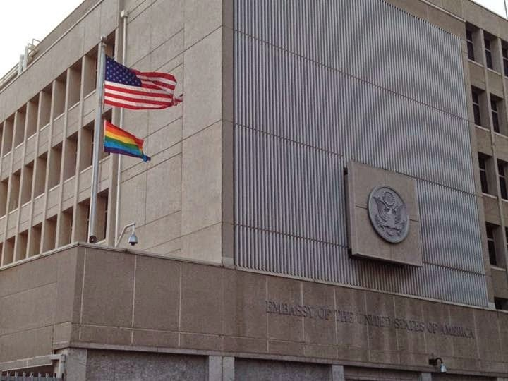 US Embassy raises gay flag next to American flag