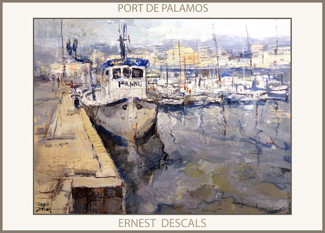PALAMOS-PORT-PINTURA-MARINA-BARCOS-PUERTO-PAISATGES-CATALUNYA-CUADROS-PINTOR-ERNEST DESCALS-