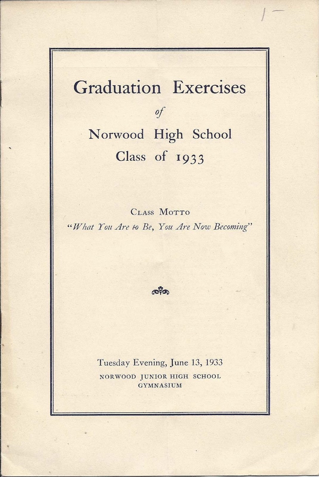 Heirlooms Reunited: 1933 Graduation Program of Norwood High School ...