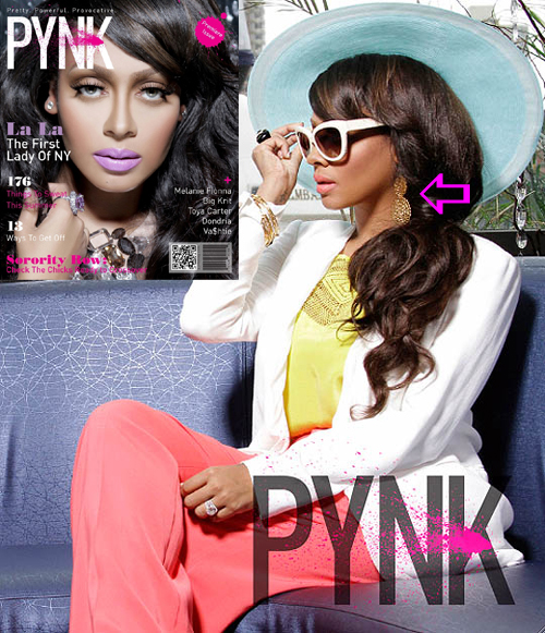 LaLa Anthony wearing earrings by Jenny Dayco