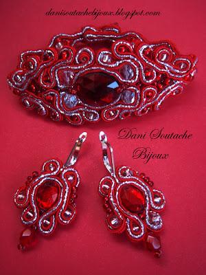 Conjunto de pulseira e brincos em soutache nas cores vermelho e prata