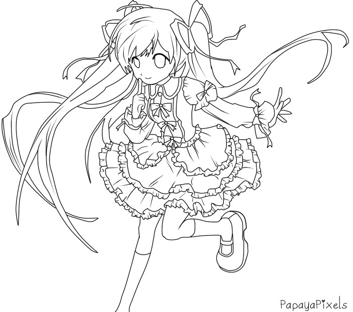 cat girl anime coloring pages - photo#23