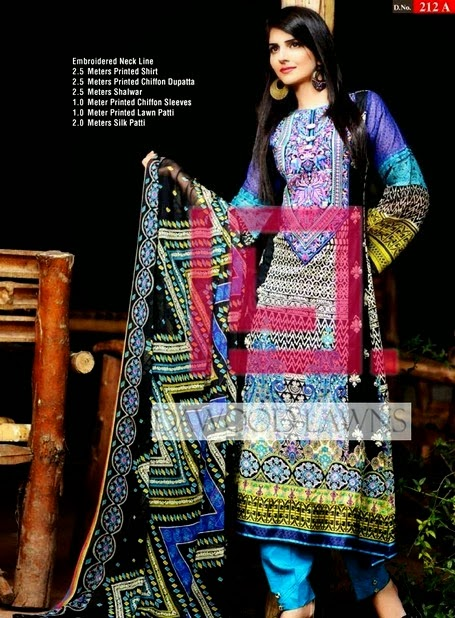 Dawood Liali Lawn Collection 2014 for Girls