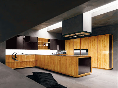 modern kitchen ideas with interesting lightning and wooden cabinets