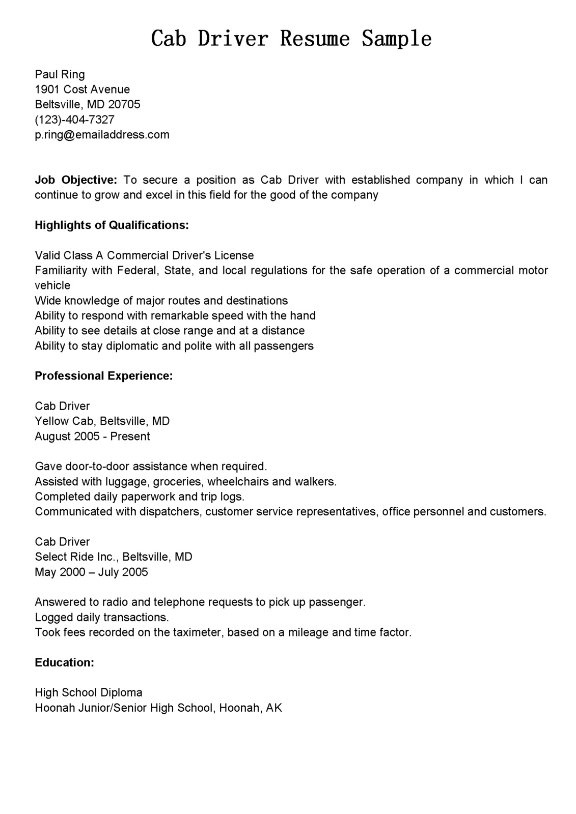 driver resumes  cab driver resume sample