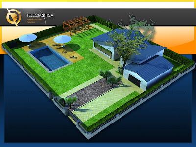 3d Max casa campo chalet piscina sombrillas jardín telecmotica telecomunicaciones domotica