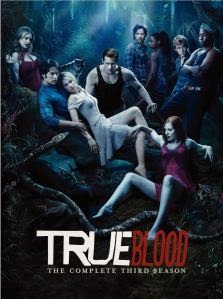 Cover art for True Blood S3, featuring a number of humans and vampires hanging out in a swamp. Most have adopted sexy poses.
