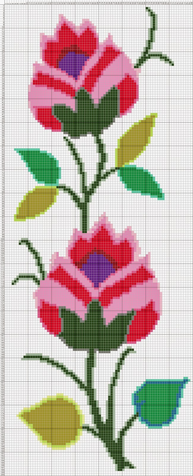 Gambar Pola Kristik Bunga Merah Ungu