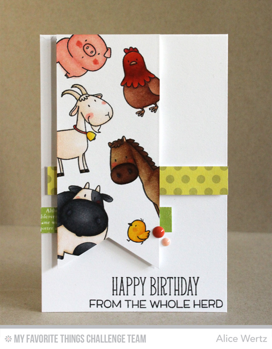 Happy BIrthday from the Whole Herd Card from Alice Wertz featuring the Birdie Brown The Whole Herd stamp set