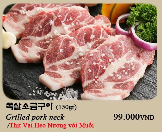 Thịt vai heo nướng muối Nhà hàng Hàn Quốc Thủ Đức Suraon