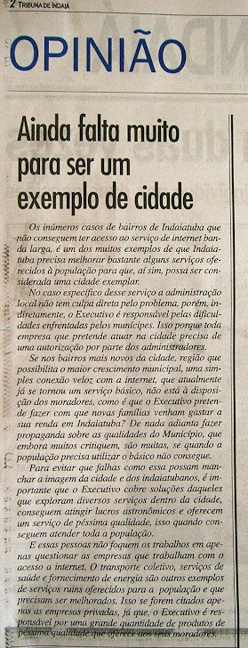 Jornal Tribuna de Indaiá - Editorial