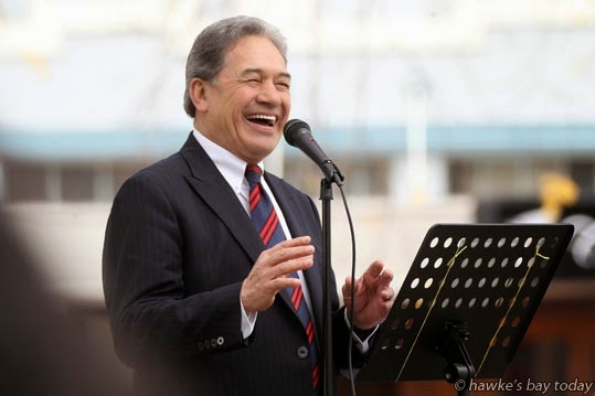 Rt Hon Winston Peters, leader, NZ First, speaking to a revolving crowd of about 100 people in the Hastings CBD, Hastings photograph
