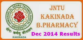 JNTU Kakinada B.Pharmacy Reg Supply Dec 2014 Results