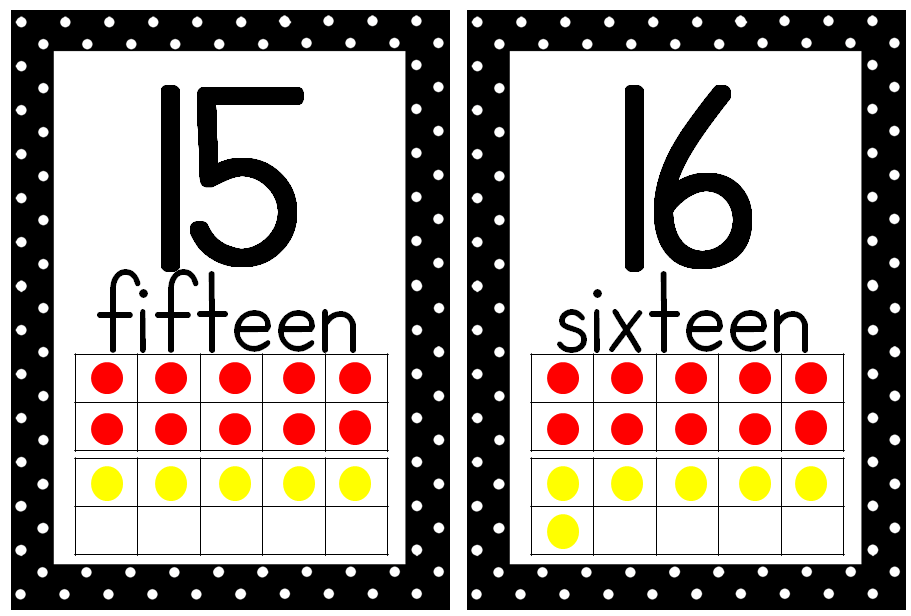 Printable Dot Cards 1-20 Letter Cards Numbers 1-20