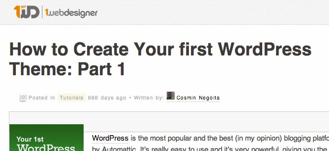 Your first WordPress Theme: Part 1