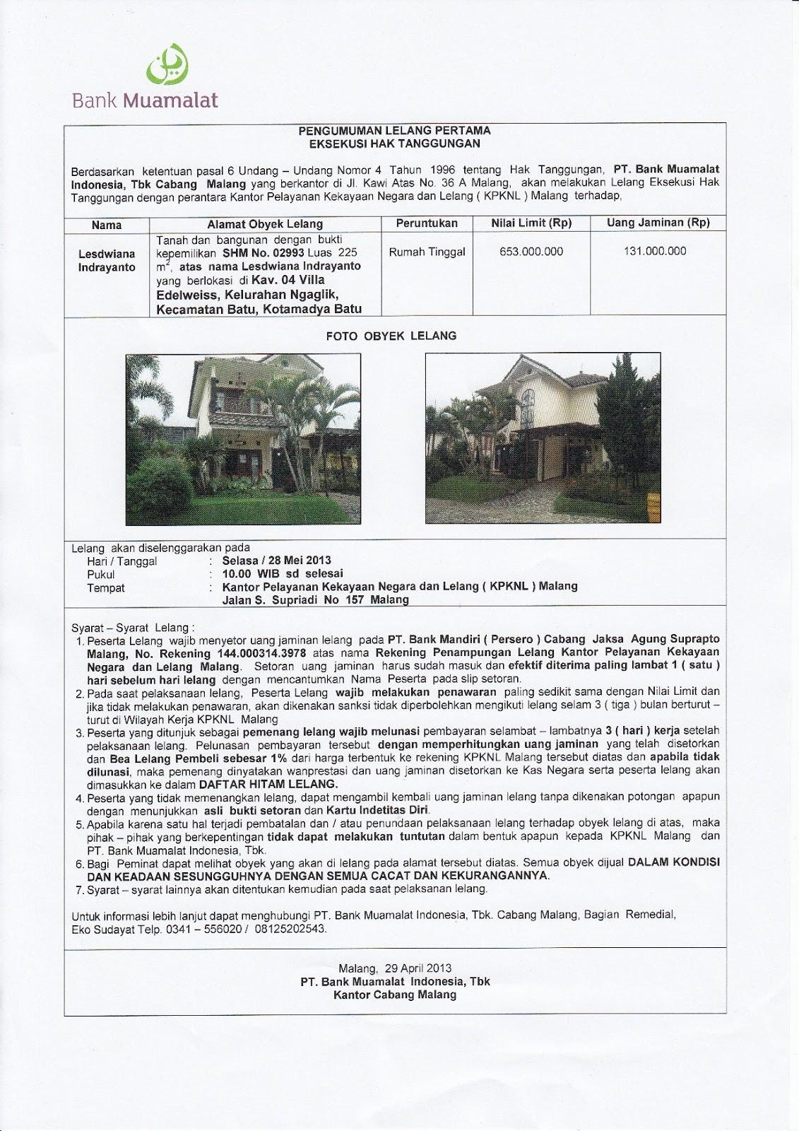 Rumah Villa Dijual Lelang