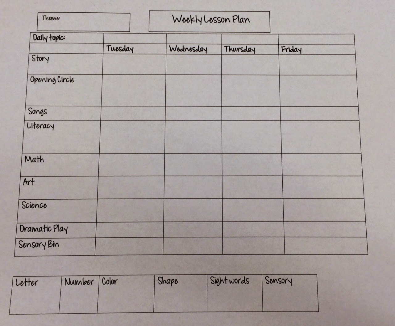 miss nicole u0026 39 s preschool  weekly lesson plan template
