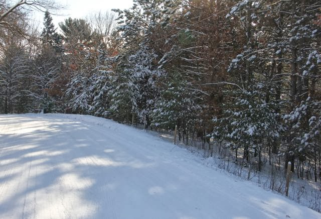 snow packed country road