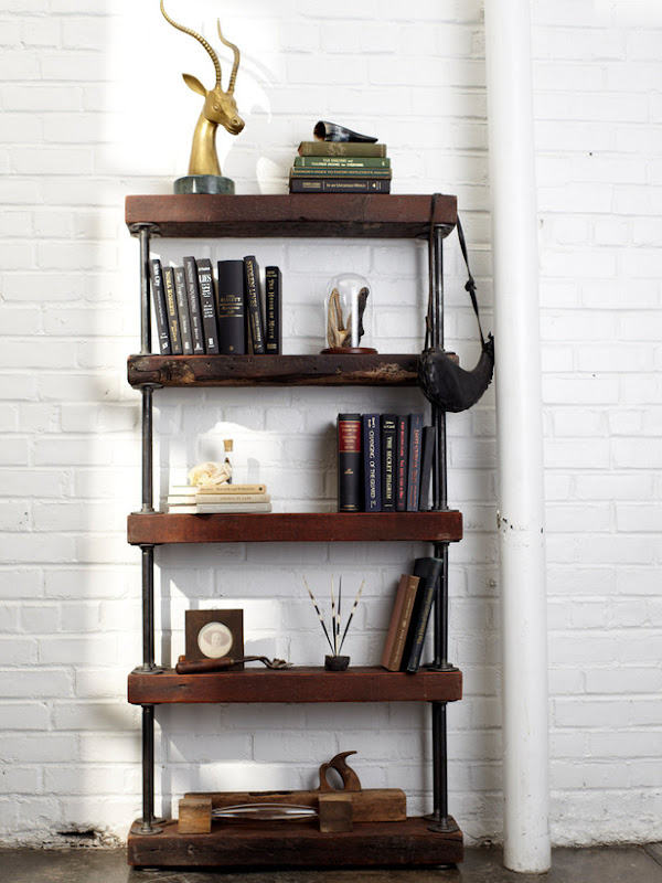 Industrial Pipe Bookshelf DIY