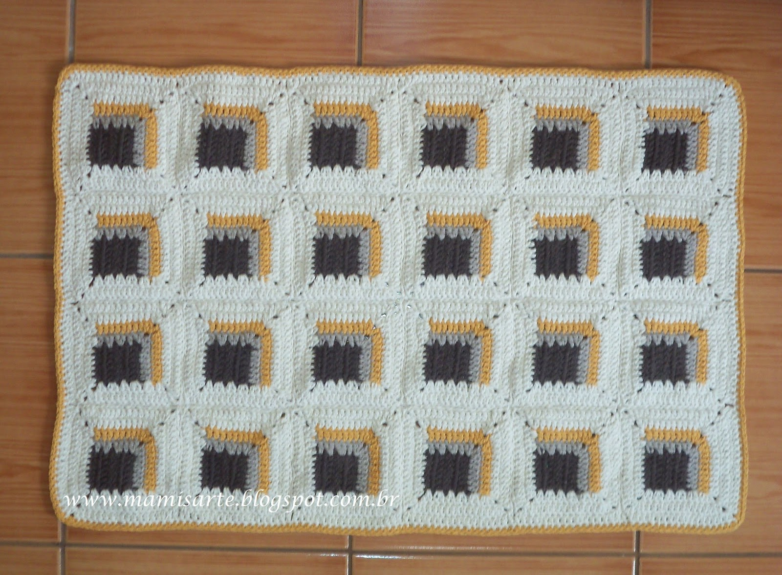 Crochet Et Tricot Da Mamis: Tapete Log Cabin Em Crochet  Gráfico. Full resolution  image, nominally Width 1600 Height 1177 pixels, image with #784D30.