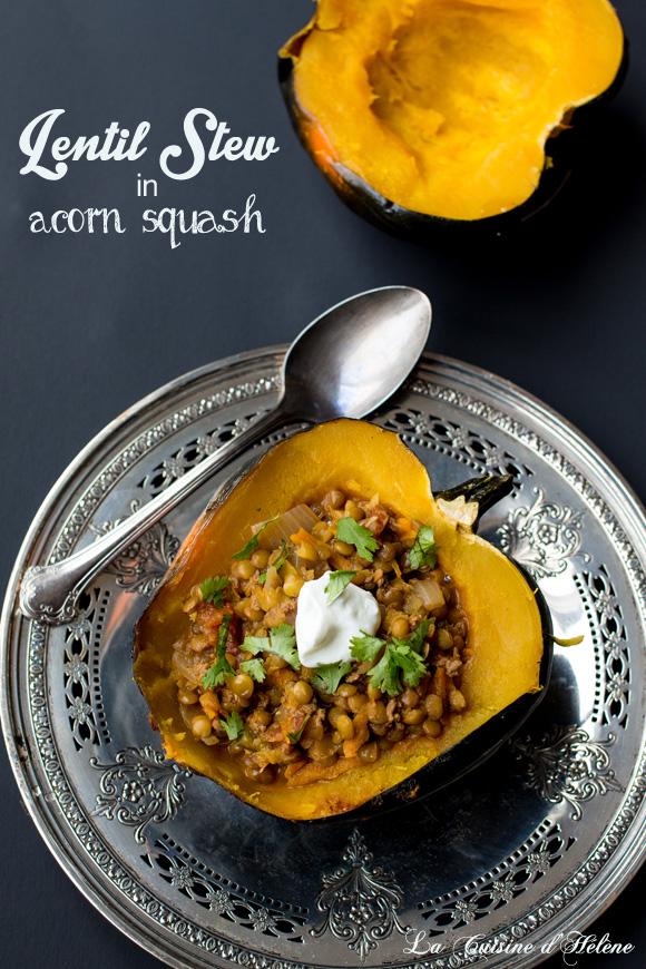 lentil stew with acorn squash