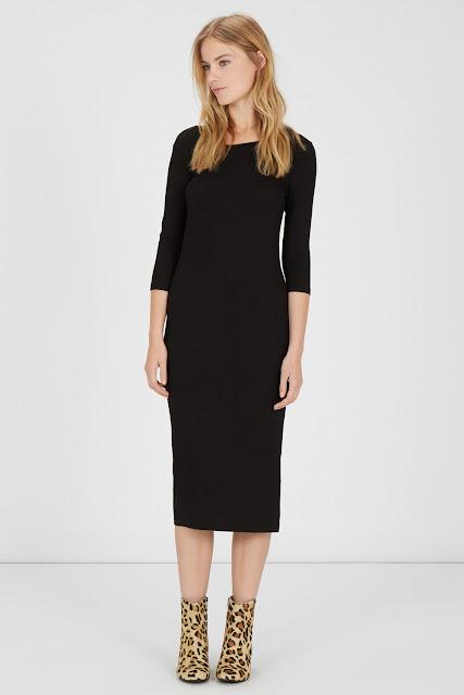 black ribbed midi dress, warehouse black midi dress,