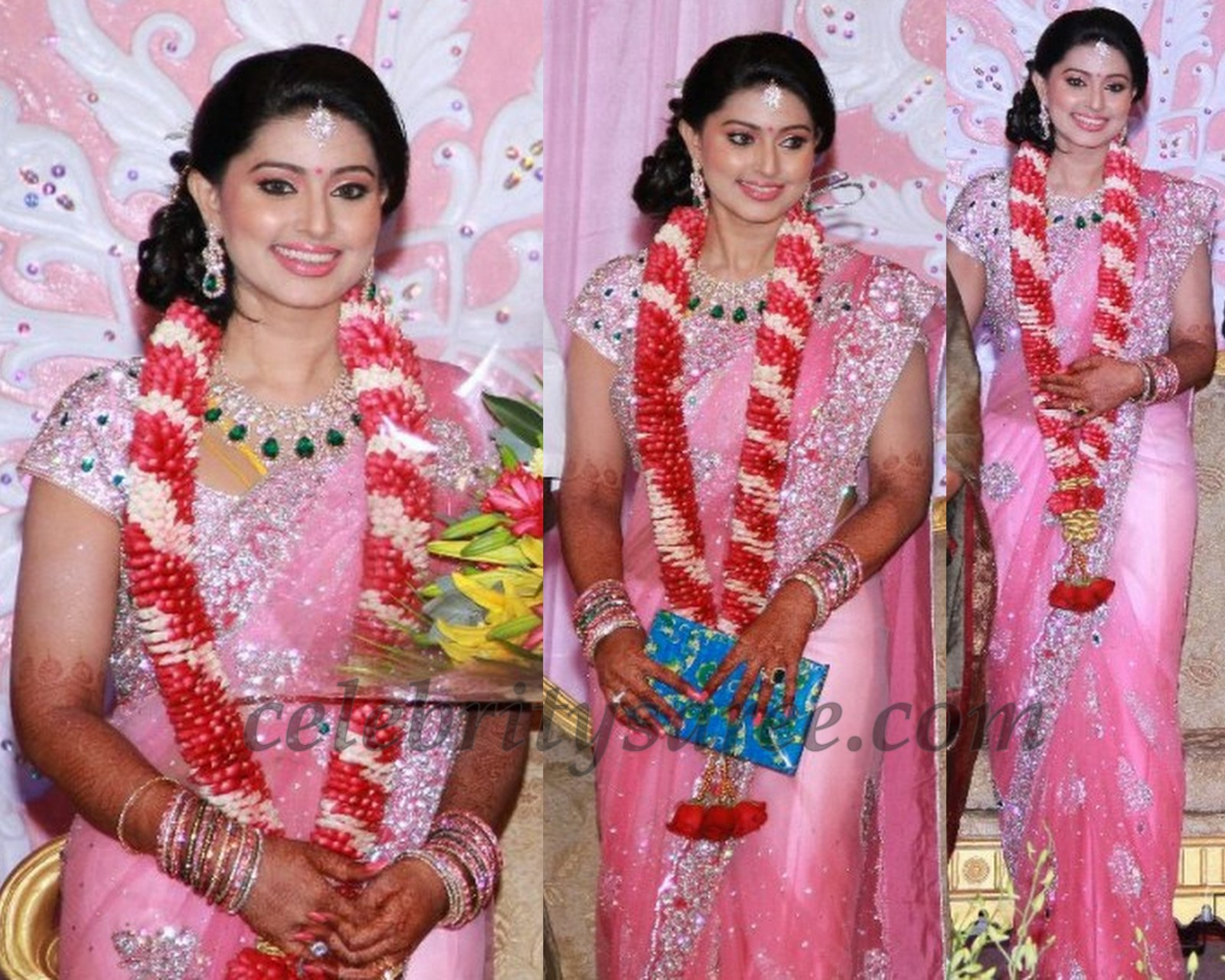 Sneha In Pink Designer Sari At Her Wedding Reception