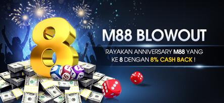 Dapatkan 8% Cash Back sampai dengan Rp 880.000 di M88