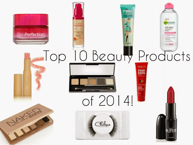 Top products of 2014 - Loreal - Skin perfection - Bourjois - Healthy mix foundation - benefit - porefessional - primer - moisturser - Garnier micellar water - Too Faced Naked Dolly lipstick - HD Brows - bombshell palette - PapayaGold - Paw Paw balm - Urban Decay Naked basic palette - Chelsea Beautique - Mink Lashes - Mac - True Loves Kiss - lipstick